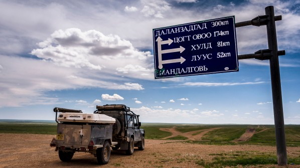 Mongolia, Road Sign, Land Rover, Defender, 90, Tent, Road, Highway, Dirt