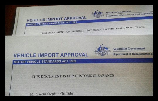 Vehicle and Trailer Approved for import