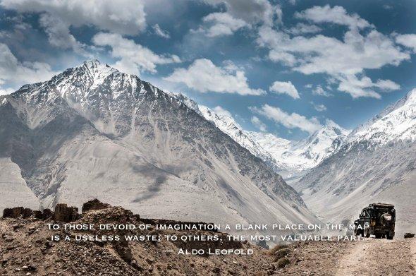 inspiration, travel, quote, Tajikistan, Hindu Kush, Pamirs, mountains, highway, 4x4, land rover, defender, gravel road, dirt