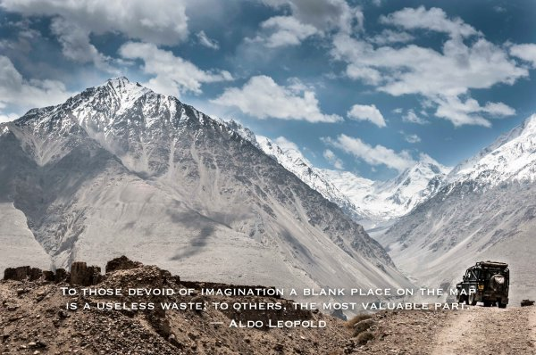 inspiration, travel, quote, Tajikistan, Hindu Kush, Pamirs, mountains, highway, 4x4, land rover, defender, gravel road, dirt