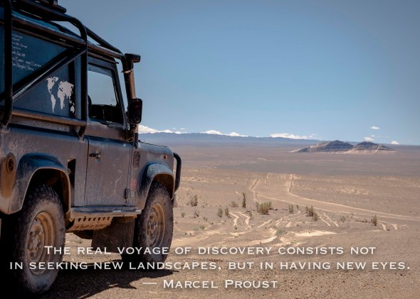 inspirational, inspire, quote, mongolia, land rover, defender, 90 travel, tracks, dirt roads, sunshine, colour, photography