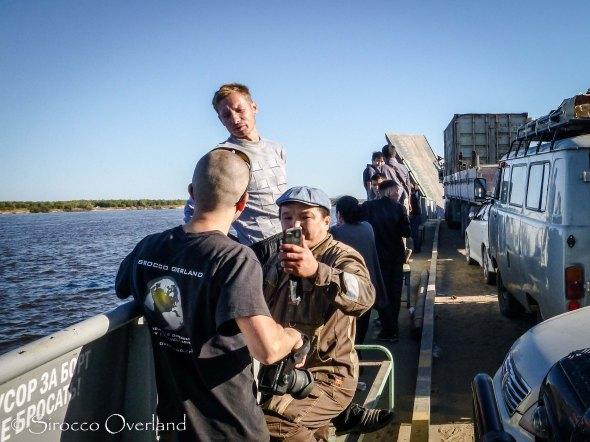 Yakutsk river Barge, Ferry, Locals, Siberia, Russia